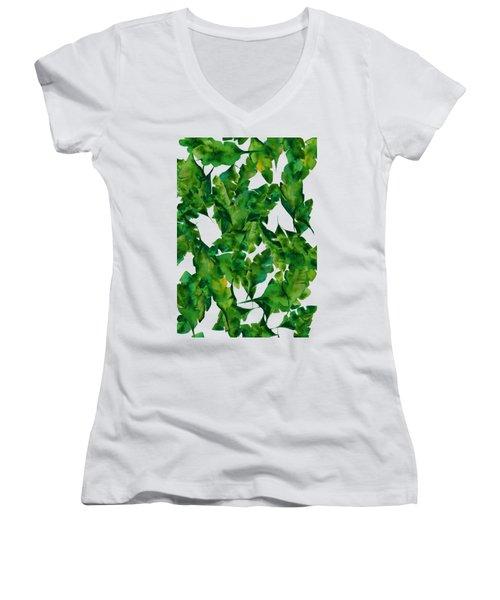 Overlapping Leaves Women's V-Neck T-Shirt (Junior Cut) by Cortney Herron
