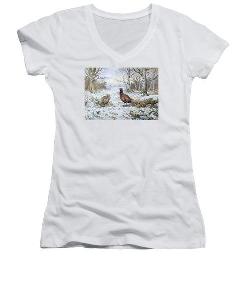 Pair Of Pheasants With A Wren Women's V-Neck T-Shirt (Junior Cut) by Carl Donner
