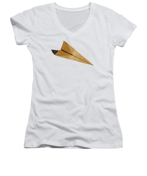Paper Airplanes Of Wood 15 Women's V-Neck T-Shirt (Junior Cut) by YoPedro