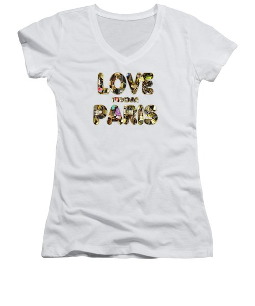 Paris City Of Love And Lovelocks Women's V-Neck T-Shirt (Junior Cut) by Georgeta Blanaru