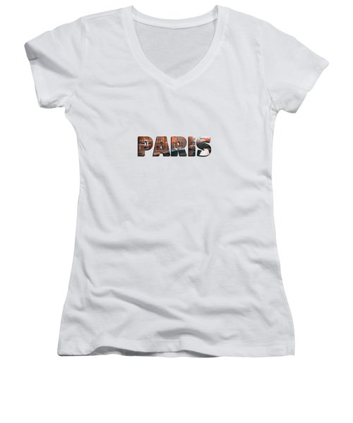 Paris In Fall Women's V-Neck T-Shirt (Junior Cut) by Konstantin Sevostyanov