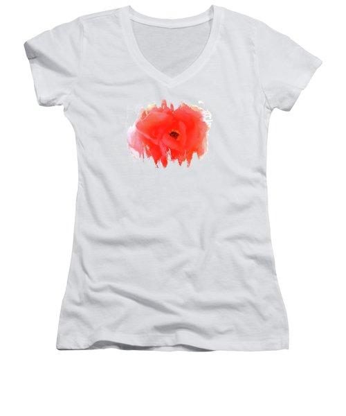 Peachy Keen Women's V-Neck T-Shirt (Junior Cut) by Anita Faye