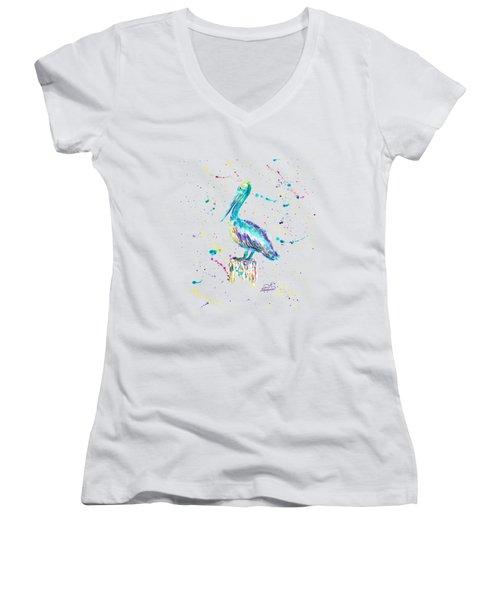 Pelican By Jan Marvin Women's V-Neck T-Shirt (Junior Cut) by Jan Marvin