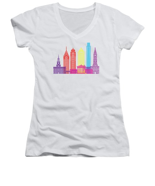 Philadelphia Skyline Pop Women's V-Neck T-Shirt (Junior Cut) by Pablo Romero