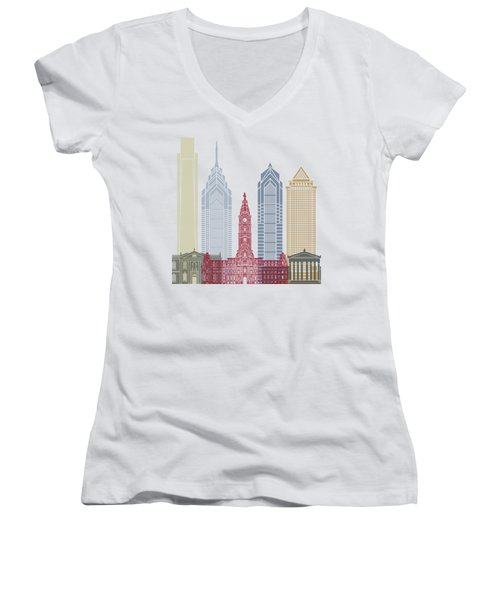 Philadelphia Skyline Poster Women's V-Neck T-Shirt (Junior Cut) by Pablo Romero