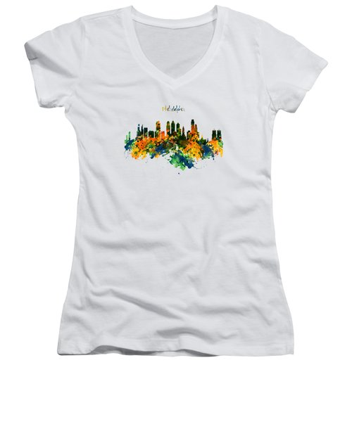 Philadelphia Watercolor Skyline Women's V-Neck T-Shirt (Junior Cut) by Marian Voicu