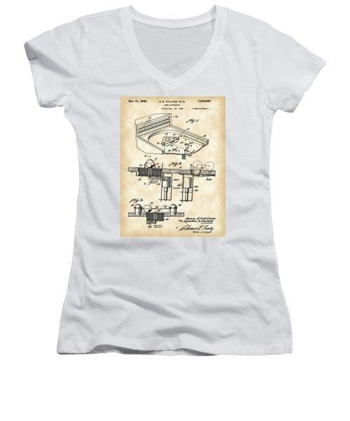 Pinball Machine Patent 1939 - Vintage Women's V-Neck T-Shirt (Junior Cut) by Stephen Younts