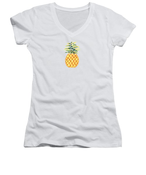 Pineapple Women's V-Neck T-Shirt (Junior Cut) by Kathleen Sartoris