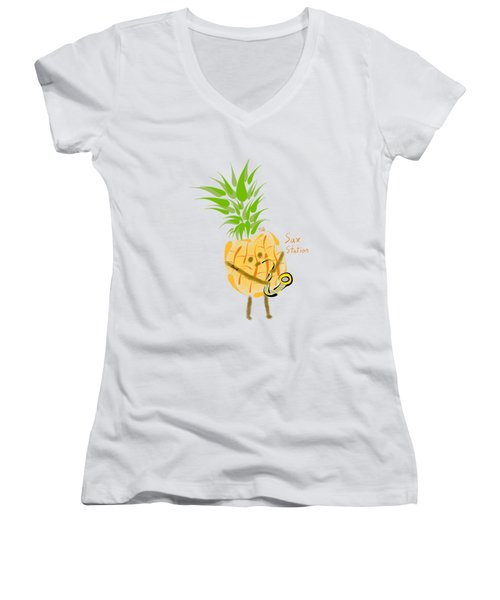 Pineapple Playing Saxophone Women's V-Neck T-Shirt (Junior Cut) by Neal Battaglia