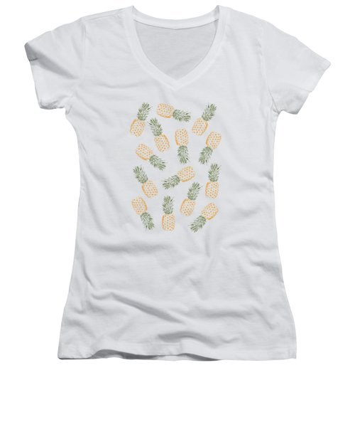 Pineapples Women's V-Neck T-Shirt (Junior Cut) by Rui Faria