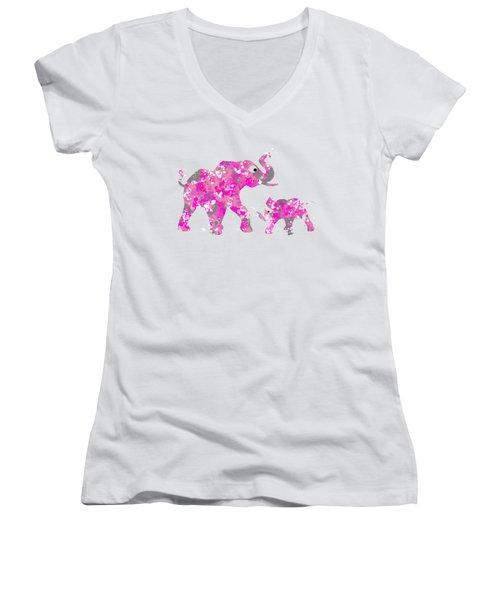 Pink Elephants Women's V-Neck T-Shirt (Junior Cut) by Christina Rollo