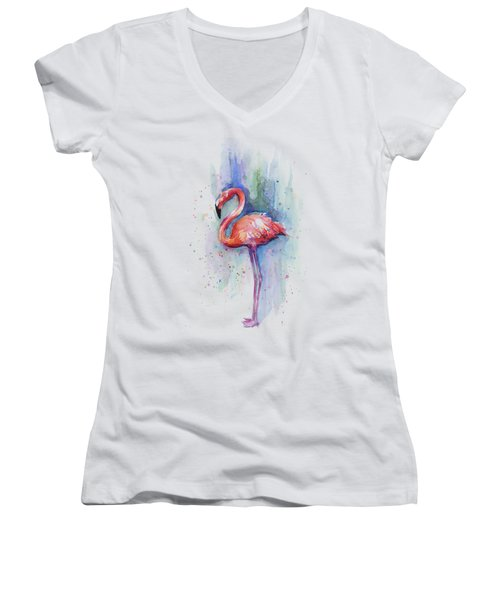 Pink Flamingo Watercolor Women's V-Neck T-Shirt (Junior Cut) by Olga Shvartsur