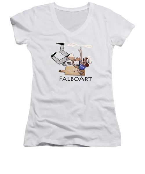 Pizza Break T-shirt Women's V-Neck T-Shirt (Junior Cut) by Anthony Falbo