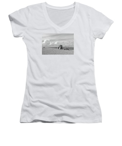 Ploughing After The Harvest In Black And White Women's V-Neck T-Shirt (Junior Cut) by Gill Billington
