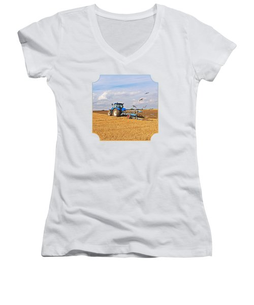 Ploughing After The Harvest - Square Women's V-Neck T-Shirt (Junior Cut) by Gill Billington