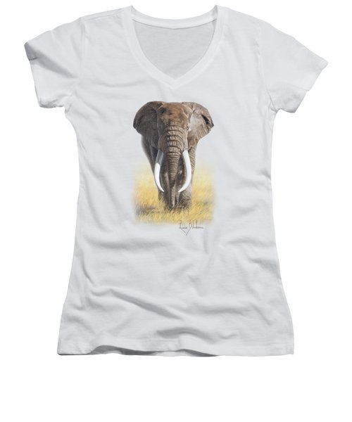 Power Of Nature Women's V-Neck T-Shirt (Junior Cut) by Lucie Bilodeau