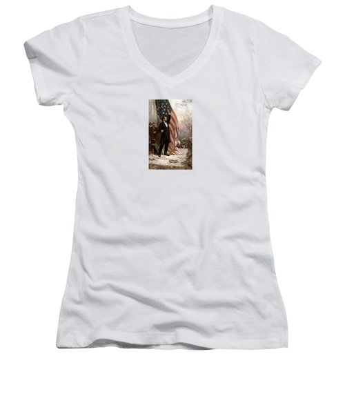 President Abraham Lincoln Giving A Speech Women's V-Neck T-Shirt (Junior Cut) by War Is Hell Store