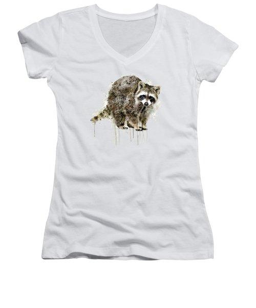 Raccoon Women's V-Neck T-Shirt (Junior Cut) by Marian Voicu