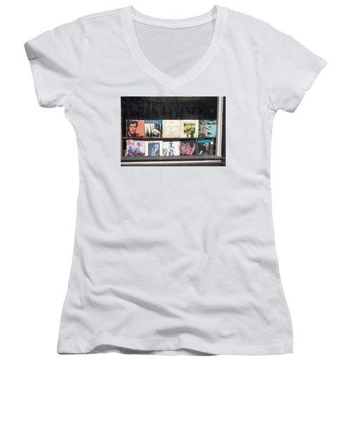 Record Store Burlington Vermont Women's V-Neck T-Shirt (Junior Cut) by Edward Fielding