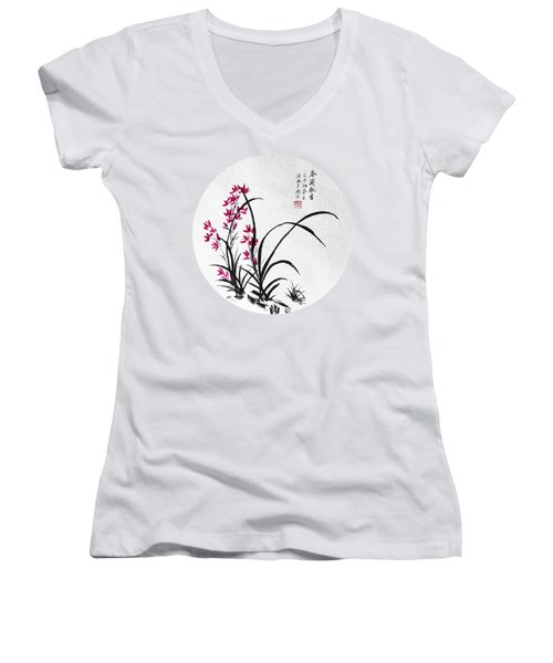 Red Iris - Round Women's V-Neck T-Shirt (Junior Cut) by Birgit Moldenhauer