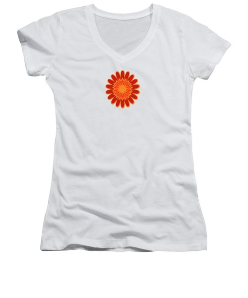 Red Sunflower Pattern Women's V-Neck T-Shirt (Junior Cut) by Methune Hively