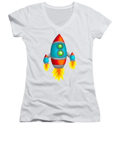 Retro Rocket Women's V-Neck T-Shirt (Junior Cut) by Brian Kemper
