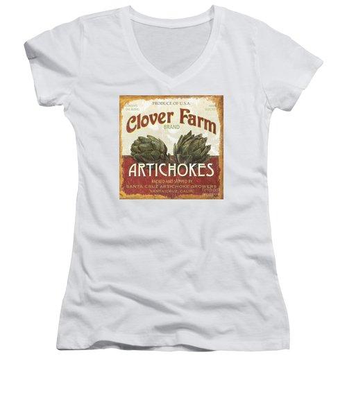 Retro Veggie Labels 1 Women's V-Neck T-Shirt (Junior Cut) by Debbie DeWitt