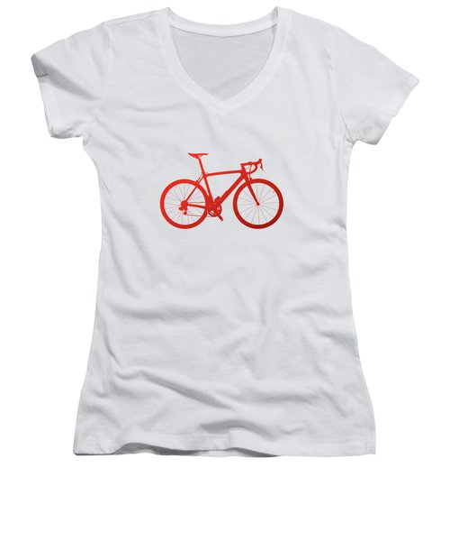 Road Bike Silhouette - Red On White Canvas Women's V-Neck T-Shirt (Junior Cut) by Serge Averbukh