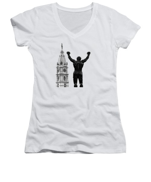 Rocky - Philly's Champ Women's V-Neck T-Shirt (Junior Cut) by Bill Cannon