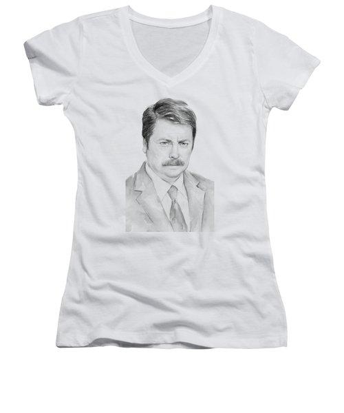 Ron Swanson  Women's V-Neck T-Shirt (Junior Cut) by Olga Shvartsur
