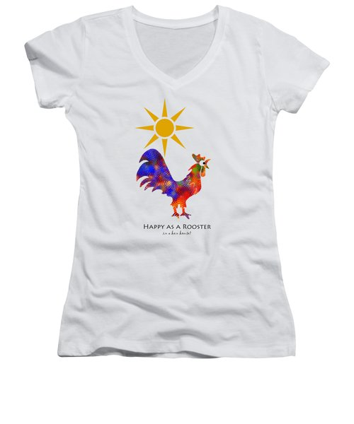 Rooster Pattern Art Women's V-Neck T-Shirt (Junior Cut) by Christina Rollo