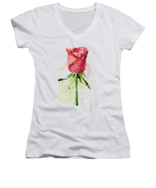 Rose Watercolor Women's V-Neck T-Shirt (Junior Cut) by Olga Shvartsur