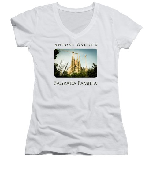 Sagrada Familia With Catalonia's Flag Women's V-Neck T-Shirt (Junior Cut) by Alejandro Ascanio
