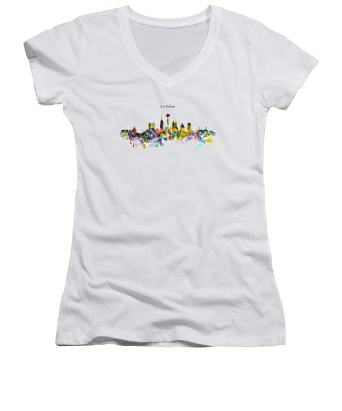 San Antonio Skyline Silhouette Women's V-Neck T-Shirt (Junior Cut) by Marian Voicu