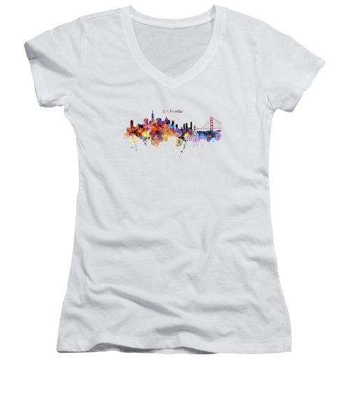 San Francisco Watercolor Skyline Women's V-Neck T-Shirt (Junior Cut) by Marian Voicu