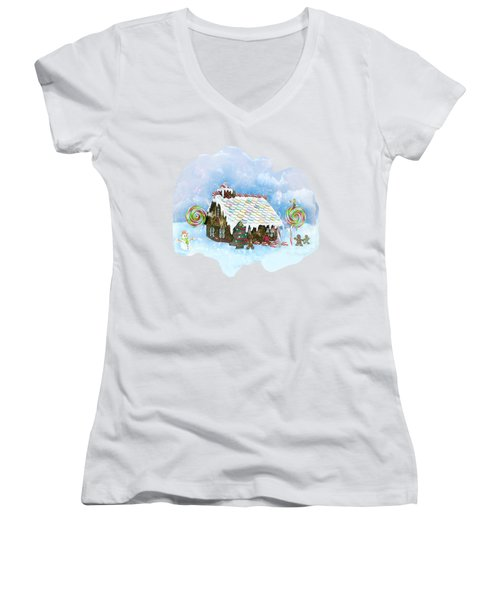 Santa Loves Cookies Women's V-Neck T-Shirt (Junior Cut) by Methune Hively