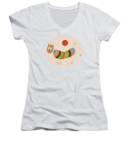 Sausage Dog In Ketchup Sunset Women's V-Neck T-Shirt (Junior Cut) by Frank Tschakert