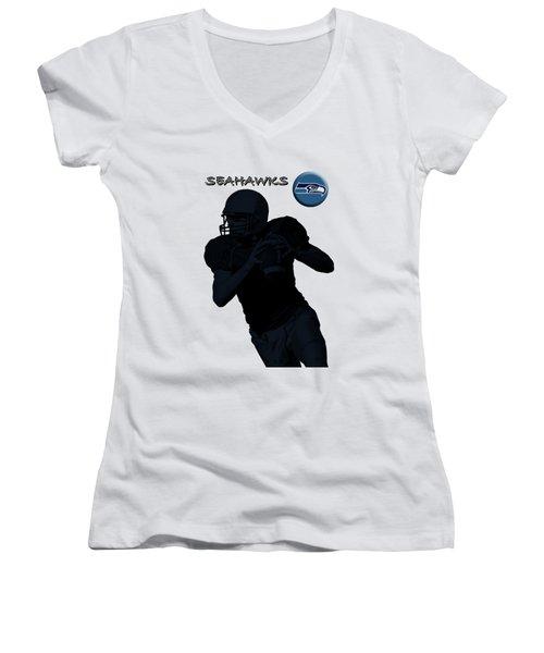 Seattle Seahawks Football Women's V-Neck T-Shirt (Junior Cut) by David Dehner