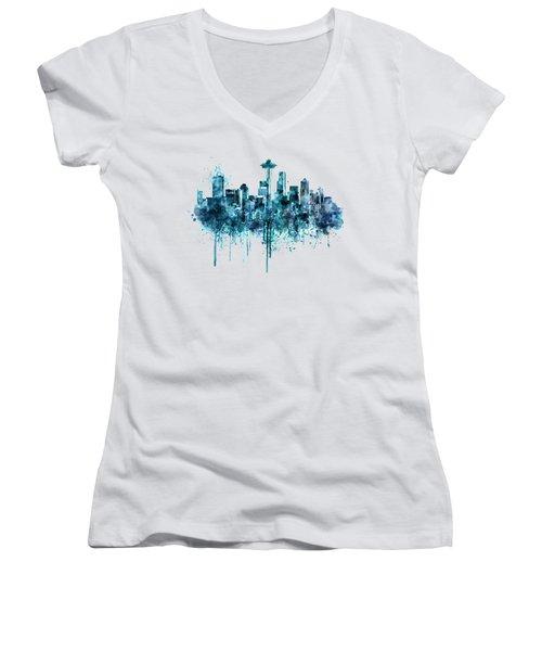 Seattle Skyline Monochrome Watercolor Women's V-Neck T-Shirt (Junior Cut) by Marian Voicu