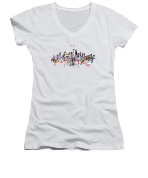 Seattle Skyline Silhouette Women's V-Neck T-Shirt (Junior Cut) by Marian Voicu