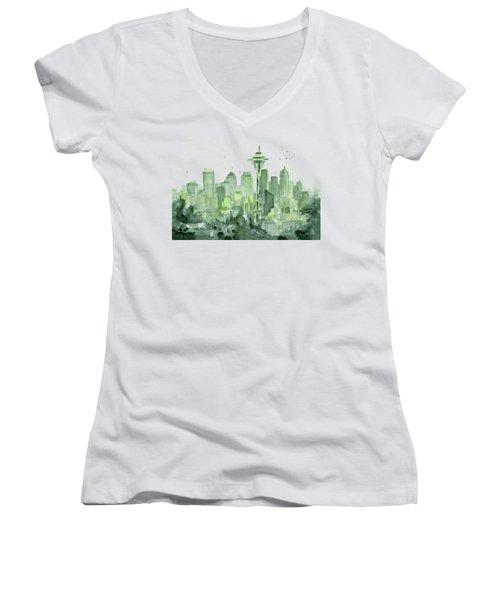 Seattle Watercolor Women's V-Neck T-Shirt (Junior Cut) by Olga Shvartsur