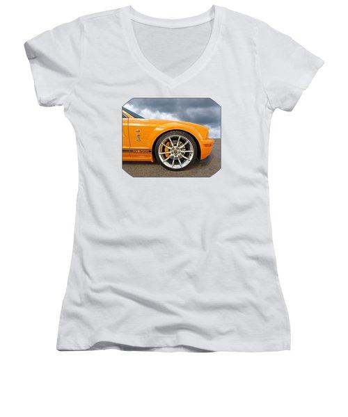 Shelby Gt500 Wheel Women's V-Neck T-Shirt (Junior Cut) by Gill Billington