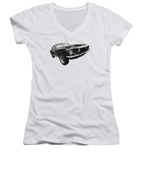 Shelby Gt500kr 1968 In Black And White Women's V-Neck T-Shirt (Junior Cut) by Gill Billington