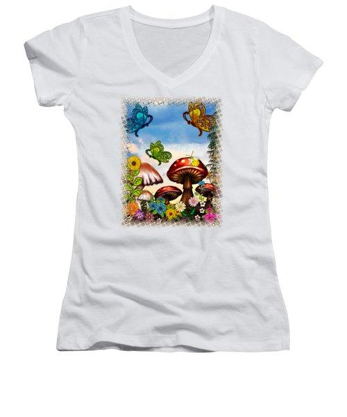 Shroomvilla Summer Fantasy Folk Art Women's V-Neck T-Shirt (Junior Cut) by Sharon and Renee Lozen