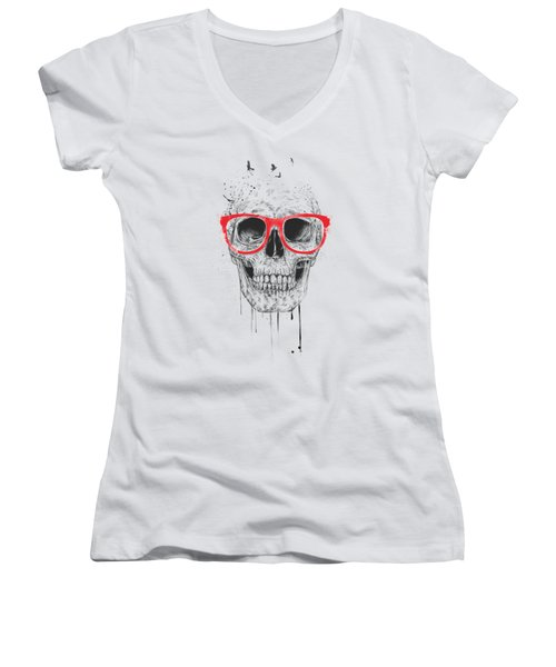 Skull With Red Glasses Women's V-Neck T-Shirt (Junior Cut) by Balazs Solti