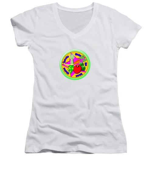 Smart Snacks Women's V-Neck T-Shirt (Junior Cut) by Linda Lindall