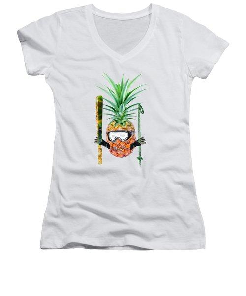 Smiling Pineapple-downhill Skier Women's V-Neck T-Shirt (Junior Cut) by Elena Nikolaeva