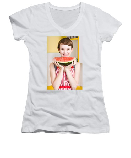 Smiling Young Woman Eating Fresh Fruit Watermelon Women's V-Neck T-Shirt (Junior Cut) by Jorgo Photography - Wall Art Gallery