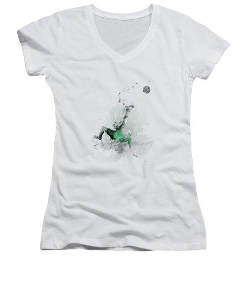 Soccer Player Women's V-Neck T-Shirt (Junior Cut) by Marlene Watson