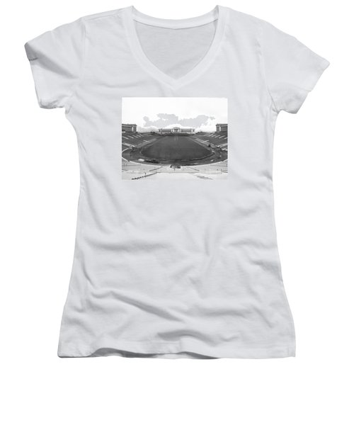 Soldier Field In Chicago Women's V-Neck T-Shirt (Junior Cut) by Underwood Archives